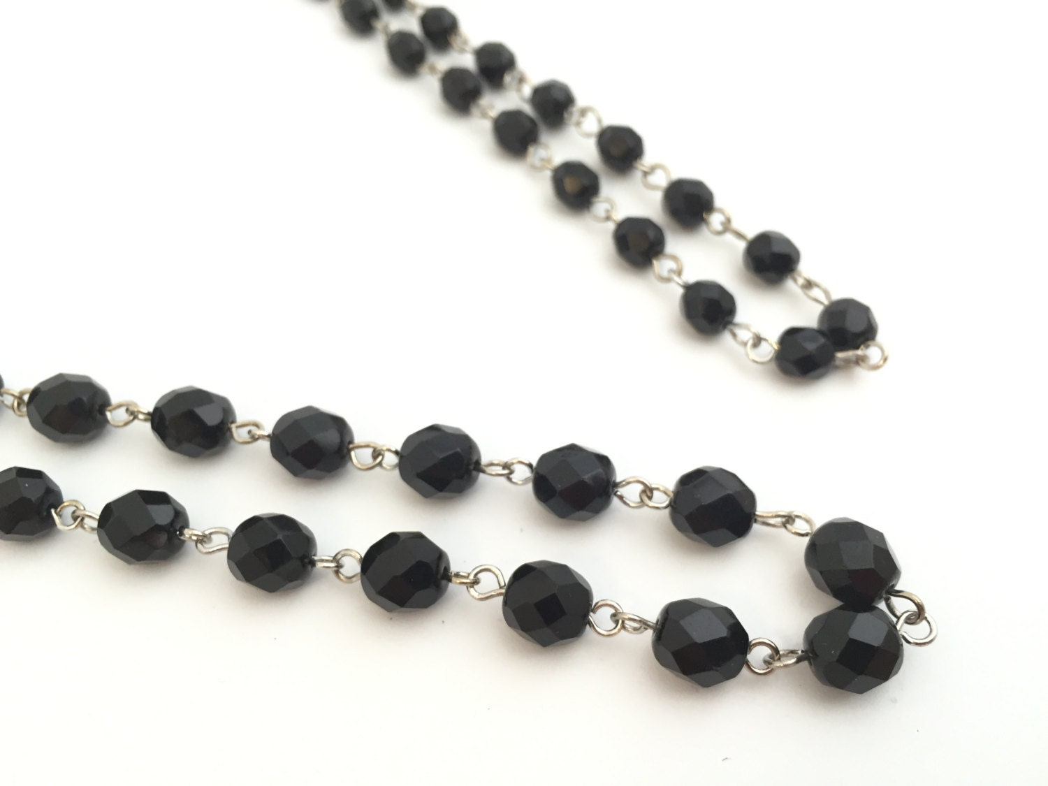 Black rosary chain beaded chain necklace chain diy for Bulk jewelry chain canada