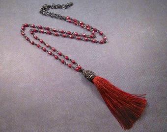 Coppery Rayon Tassel Necklace, Rose Halo Glass Beaded Chain, Pave Rhinestone Cap, Gunmetal Silver Necklace, FREE Shipping U.S.