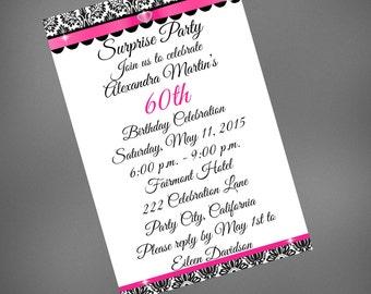 60th Birthday Invitation, 60th Birthday Surprise, Pink Damask Invite, Pink Black Invitation