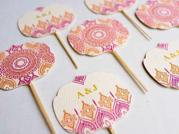 Mehndi Cake Toppers : Personalized indian hindu wedding cupcake toppers henna