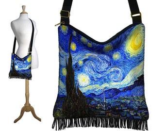 Crossbody Hobo Bag in Van Gogh Starry Nite, Sling Bag Hippie Fringe Purse, Fabric Slouch Bag, zipper, pockets, blue yellow black MTO