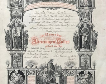 1800s American-German Lithograph / Birth Certificate