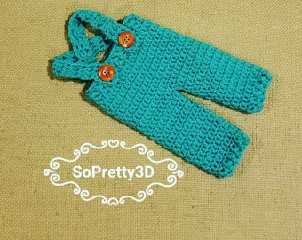 Newborn Crocheted Jade/Turquoise Overalls! Sizing for premies-0 months old! FREE SHIPPING!