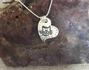 Kitty Heart Silver Pendant