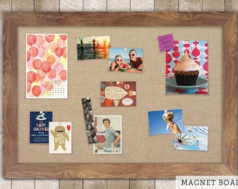 Magnetic Bulletin Boards | Framed Magnet Boards | Magnet Board | Decorative Magnet Boards - Barnboard Frame + Burlap Fabric