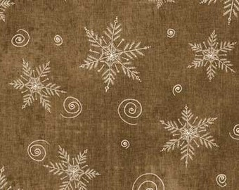 Dark Tan with White Snowflakes and Swirls - Christmas Whimsy from Red Rooster - Full or Half Yard Christmas Snowflakes