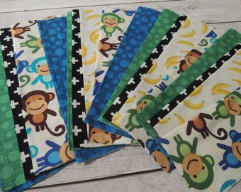 SALE, Fabric Grab Bag, All New Monkey and Coordinating Fabrics, 20 pieces, Bag BZ22 and BZ31