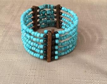 Vintage Boho Turquoise and Wood Beaded Cuff Bracelet Christmas Gift