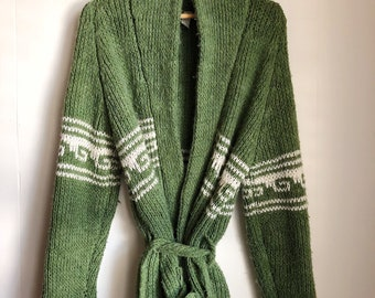 vintage 70s chunky knit green belted shawl cardigan sweater surf boho