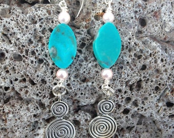 Spiral Goddess Circle of Life Earrings - Turquoise - Pink Pearl - Witchcraft - Pagan - Tribal - Feminine Energy - Goddess Power - Witch