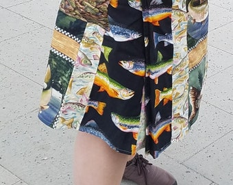 Fishy colorful wrap skirt, knee length, with pockets
