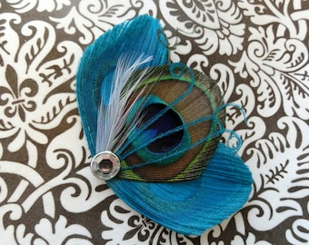 ASHLEY Turquoise and Natural Peacock Feather Hair Clip, Fascinator