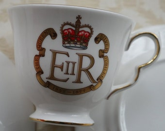 Bone China Trio, Queen Anne, Queen Elizabeth, Silver Jubilee, Afternoon Tea, Vintage Tea China, English China, Retro China, Tea Time Plate