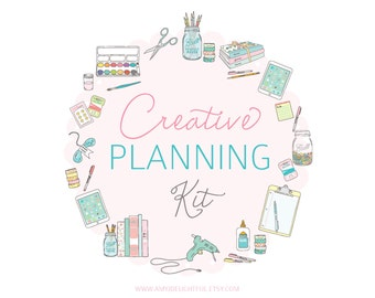CREATIVE Planning Kit - Digital File Instant Download- ideas, business planning, inspiration journal, craft log, shopping list FULL SHEET