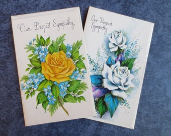 Our Deepest Sympathy Vintage Fantusy Greeting Cards with Envelopes, Two Unused Cards featuring Roses