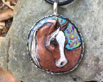 Hand Painted Horse Head Pendant