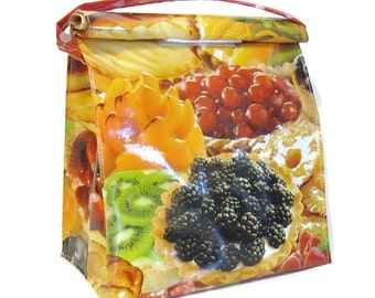 Bag,Lunch,Snack,Food,Oilcloth,Strap,Tarts,Dessert,Reusable,Storage,Container,Vintage,Handmade,Doggy,Bags