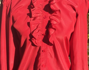 Vintage Red Notches Tuxedo and Ruffle Collar Secretary Blouse Size S