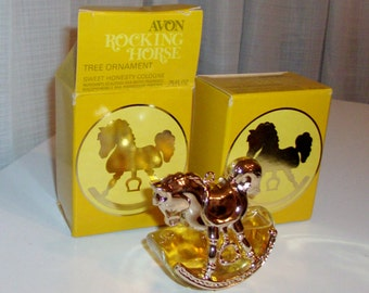 Rocking Horse Tree Ornament With Sweet Honesty Cologne by Avon (code d)