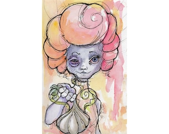 Original Watercolor Illustration - weird garlic girl  Art by Ela Steel - small yellow orange pink  lowbrow art