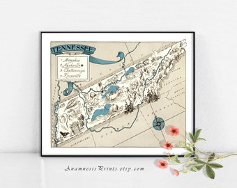 TENNESSEE MAP PRINT - framable vintage pictorial map - perfect gift for many occasions - personalize it - size and color choices - wall art