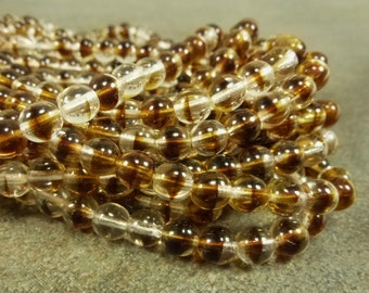 Crystal Rootbeer Czech Glass Druk Beads 6mm 50pc Smooth Round 2-Tone