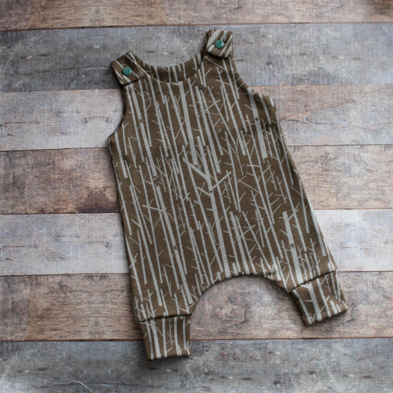 Organic Uni Woodland Harem Romper Gender Neutral Baby Boy