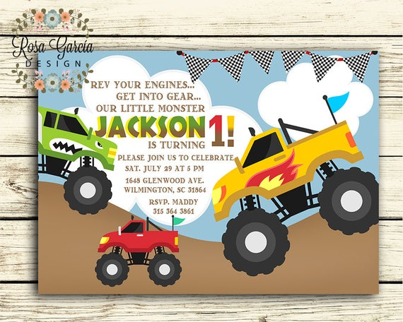monster truck birthday invitation birthday party invitation