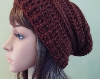 crochet slouch hat, crochet slouchy hat, crochet beanie, brown