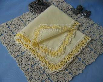 Petite Handkerchief, Small Hanky, Purse sized Hankie, Hand Crochet, Custom Colors, Custom Embroidered, Hand Crochet, Lace,  Ready to ship