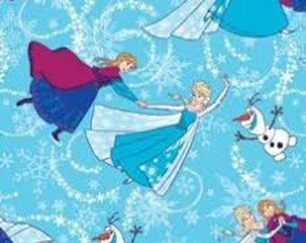 Disney Frozen Glitter All Over Elsa Anna Olaf  Blue Cotton Fabric BTY