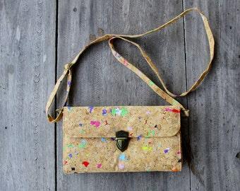 Cork Bag, Cork Clutch, Purse - Handbag /Shoulder bag made from recycled cork , Clutch