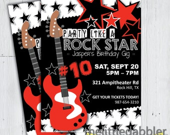 Party Like a Rock Star Birthday Invitation -- Red Black Guitar Rock and Roll Music Birthday Gig -- PNG & JPG