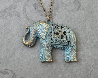 Elephant Necklace LARGE Blue Patina Elephant Jewelry Filigree Elephant Charm Necklace Indian Elephant Pendant Necklace Bridesmaid Necklace