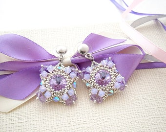 Shades of purple beadwork earrings with Swarovski round crystals and beads