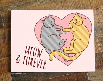 """Love Card """"Meow & Furever"""" - Funny Anniversary Card, Cat Lover Card, Valentine's Day Card, Funny Pun Card, Funny Cat Card, Cat Cuddles Card"""