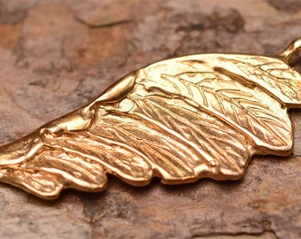 Gold Bronze Angel Wing, Feathered Wing Charm or Pendant in Bronze