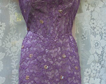 Purple  50s  dress lace  wiggle  pin up mid century  frock   small  from vintage opulence on Etsy