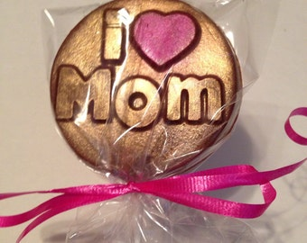 12 Chocolate I Heart Mom Lollipops Mother's Day Luncheon Favors Gift for Mom