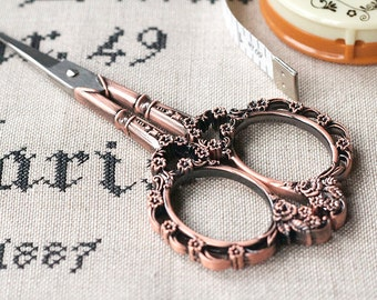 """Red Bronze Floral 4-1/2"""" Embroidery Victorian Scissor cross stitch tools hand embroidery at thecottageneedle.com"""