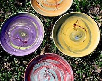 Choose your colors 11 inch pottery dinner plates rustic spiral style dragonflies or without