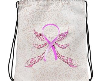 Winged Pink Ribbon Drawstring bag