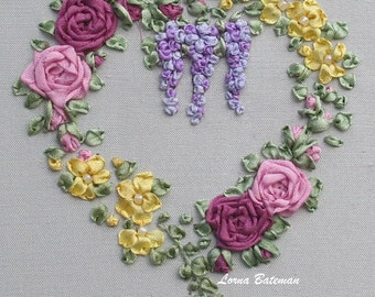Silk Ribbon Embroidery - Roses & Wisteria Heart - Brights