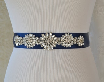 Wedding Belt-Bridal Belt-Sash Belt-Crystal Rhinestone Belt-Navy Blue Bridesmaid Sash
