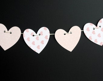 Pink birthday party bunting, Pink Heart Banner, Girls pink party bunting, Heart garland, heart birthday bunting, Baby shower banner