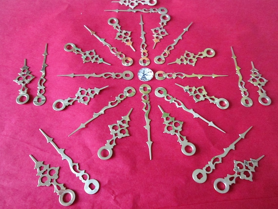 12 Pairs of New Shiny Brass Plated Serpentine Style Clock Hands for your Clock Projects, Jewelry Making, Steampunk Art and Etc...
