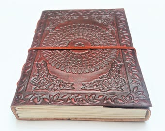 Leather Journal, Refillable Journal, Mandala Journal, Notebook, Diary, Mandala notebook, sketchbook.