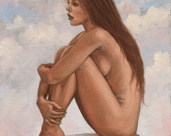Erotic Nude Female Art - Nude Portrait - Mature Original Oil Painting by Award Winning UK Artist JOHN SILVER. B.A.