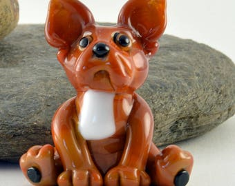 FRENCH Bulldog Glass Sculpture Collectible, Focal Bead, Izzybeads SRA