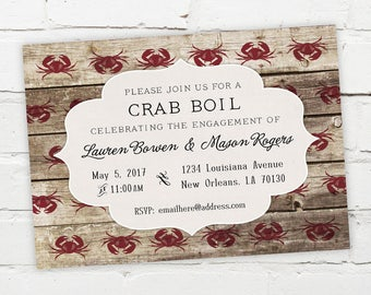 Printable Digital File - Crab Boil Invitation - Customizable - Low Country, Wood, Bargeboard, Engagement Party, Birthday, Shower, Seafood